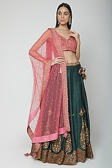 Pink & Green Embroidered Lehenga Set by Joy Mitra