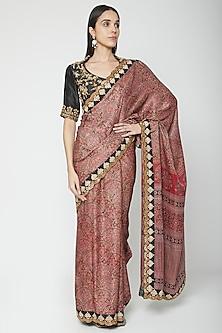 Maroon Embroidered Saree Set by Joy Mitra