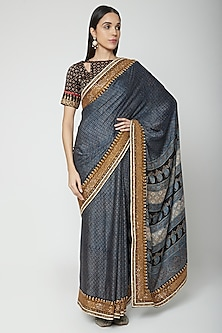 Blue Embroidered Saree Set by Joy Mitra