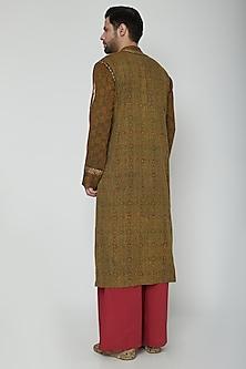 Green Embroidered Kurta Pajama Set by Joy Mitra Men