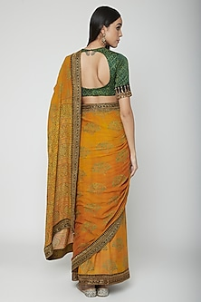 Yellow Embroidered Saree Set by Joy Mitra