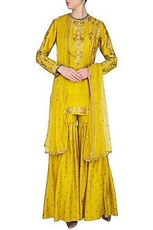 Yellow & Green Embroidered Gharara Set by Joy Mitra
