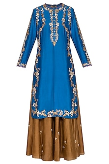 Blue & Brown Embroidered Lehenga Set by Joy Mitra