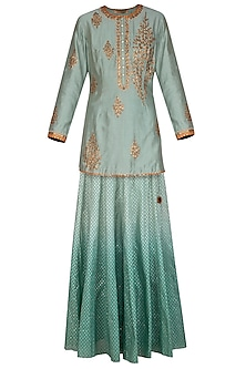 Turquoise Green Embroidered Lehenga Set by Joy Mitra