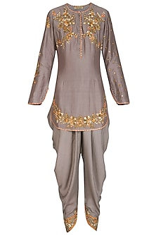 Grey Embroidered Kurta Set by Joy Mitra