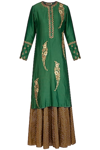 Green & Brown Embroidered Lehenga Set by Joy Mitra