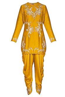 Yellow Embroidered Kurta Set by Joy Mitra