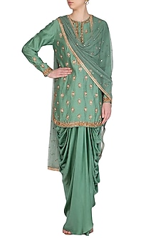 Green Embroidered Kurta Set by Joy Mitra