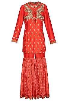Orange Embroidered Gharara Set by Joy Mitra