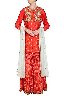 Orange Embroidered Gharara Set by Joy Mitra