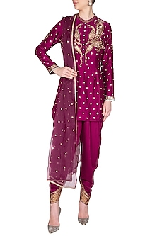 Magenta Embroidered Kurta Set by Joy Mitra