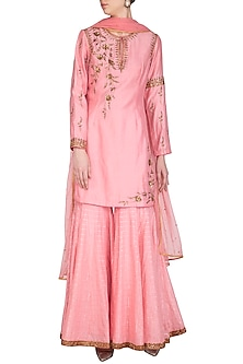 Pink Embroidered Gharara Set by Joy Mitra