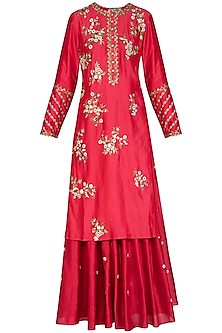 Pink Embroidered Lehenga Set by Joy Mitra