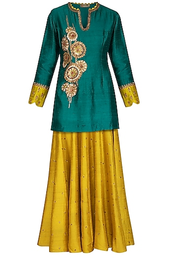 Green & Yellow Embroidered Lehenga Set by Joy Mitra