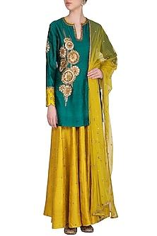 Green & Yellow Embroidered Lehenga Set by Joy Mitra