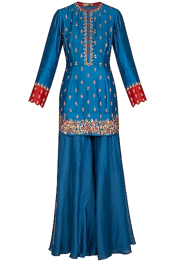 Blue Embroidered Kurta Set by Joy Mitra