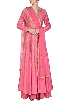 Pink Embroidered Anarkali Lehenga Set by Joy Mitra