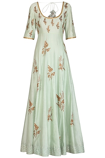 Mint Green Embroidered Anarkali With Dupatta by Joy Mitra