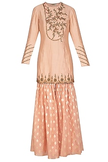 Peach Embroidered Gharara Set by Joy Mitra