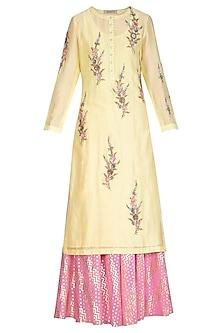 Lemon Yellow Embroidered Lehenga Set by Joy Mitra