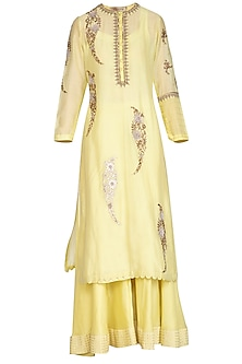 Lemon Yellow Resham Embroidered Lehenga Set by Joy Mitra