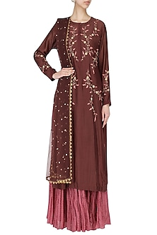 Wine Embroidered Kurta With Skirt Set by Joy Mitra