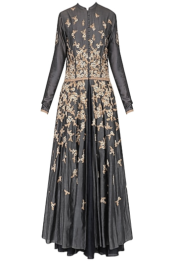 Grey Embroidered Anarkali Set by Joy Mitra