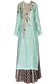 Mint Green Kurta With Skirt Set by Joy Mitra