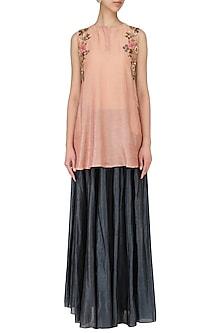 Peach Embroidered Short Kurta With Skirt Set by Joy Mitra