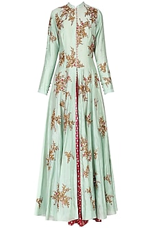 Mint Green Embroidered Anarkali Set by Joy Mitra