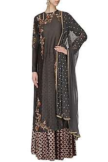 Grey Embroidered Kurta With Skirt Set by Joy Mitra