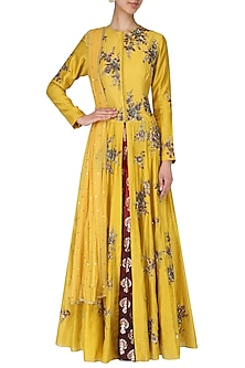 Yellow Embroidered Anarkali Set by Joy Mitra