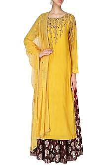 Yellow Embroidered Kurta With Skirt Set by Joy Mitra