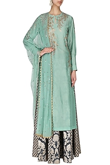 Mint Green Embroidered Kurta With Skirt Set by Joy Mitra