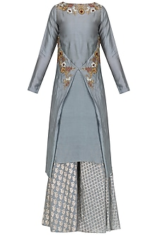 Bluiesh Grey Floral Embroidered Kurta and Skirt Set by Joy Mitra