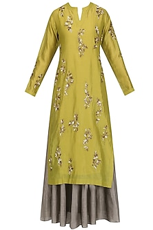 Gold Floral Embroidered Kurta and Skirt Set by Joy Mitra