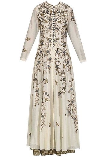 Cream Floral Embroidered Anarkali Set by Joy Mitra