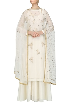 Cream Floral Embroidered Kurta and Skirt Set by Joy Mitra