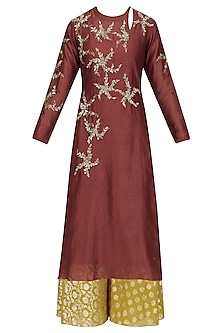 Maroon Floral Embroidered Kurta and Skirt Set by Joy Mitra
