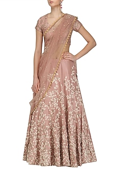 Peach Floral Embroidered Lehenga and Blouse Set by Joy Mitra