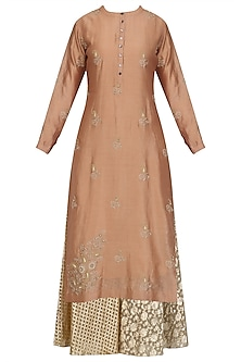 Peach Floral Embroidered Kurta and Skirt Set by Joy Mitra