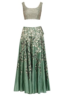 Green and Gold Embroidered Motifs Blouse and Skirt Set by Joy Mitra