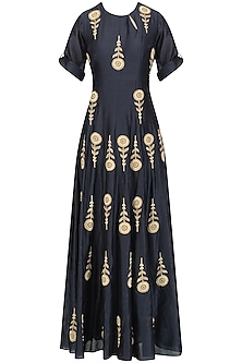 Indigo Blue Embroidered Motifs Flared Anarkali Set by Joy Mitra