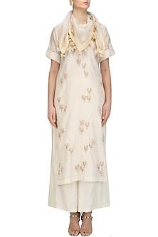Cream and Gold Motifs Kurta and Skirt Set by Joy Mitra