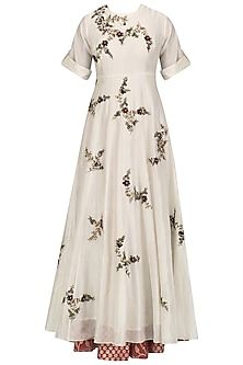 Cream Floral Embroidered Flared Anarkali Set by Joy Mitra