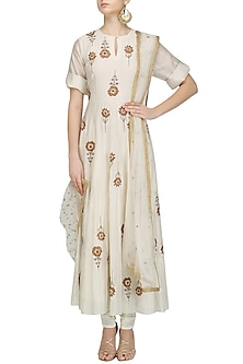 Cream Floral Embroidered Motifs Anarkali and Pants Set by Joy Mitra