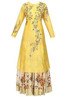 Yellow Floral Embroidered Kalidaar Kurta and Off White Printed Skirt Set by Joy Mitra