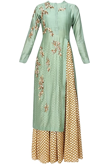 Green Floral Embroidered Kurta and Gold Brocade Skirt with Golden Scarf by Joy Mitra
