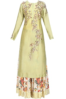 Green Floral Embroidered Kalidaar Kurta and Off White Skirt with Golden Scarf by Joy Mitra
