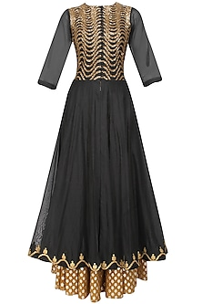 Black Sequins Embroidered Kalidaar Kurta and Gold Brocade Skirt with Golden Scarf by Joy Mitra